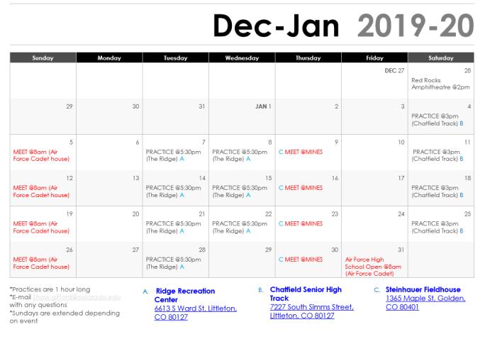 Tentative 2020 Schedule